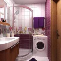 вариант яркого интерьера ванной комнаты 2017 фото