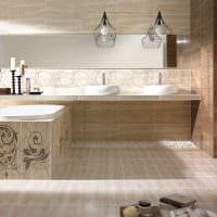 пример светлого стиля ванной комнаты в бежевом цвете фото