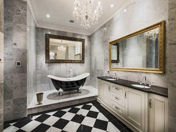 вариант необычного интерьера ванной в классическом стиле