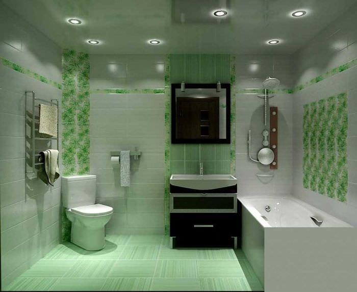 вариант необычного интерьера большой ванной комнаты