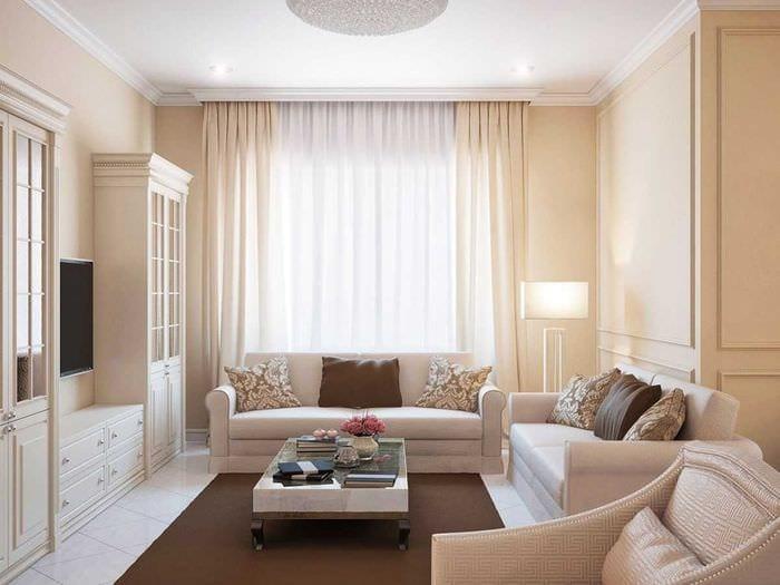 вариант красивого стиля гостиной комнаты 2018