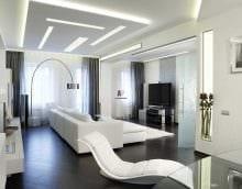 пример светлого интерьера гостиной комнаты в стиле минимализм фото