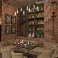идея красивого интерьера ресторана в стиле лофт фото