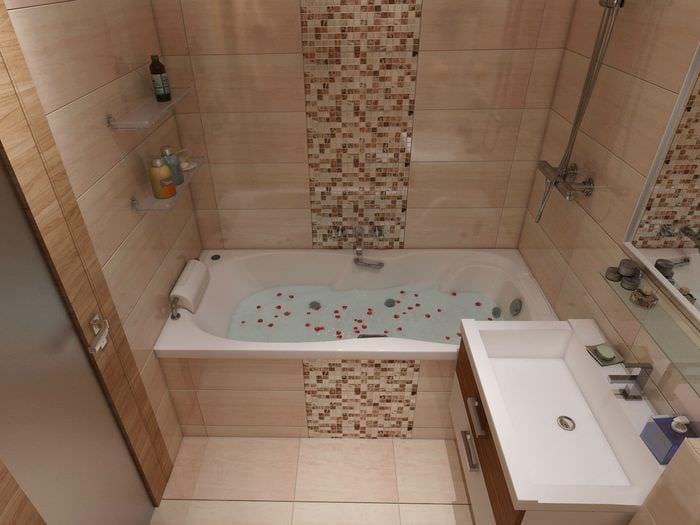 вариант яркого стиля ванной в бежевом цвете