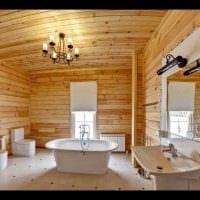 вариант красивого интерьера ванной комнаты в деревянном доме фото