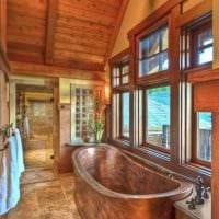 идея яркого стиля ванной комнаты в деревянном доме фото