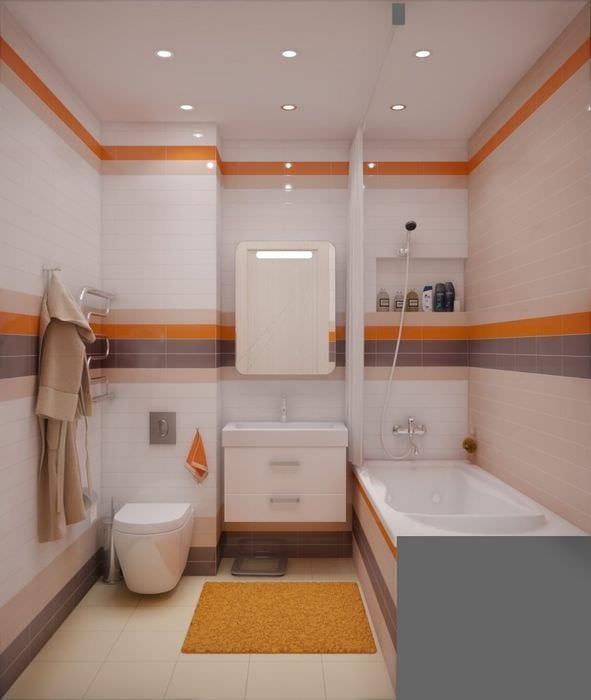 вариант яркого стиля ванной в хрущевке