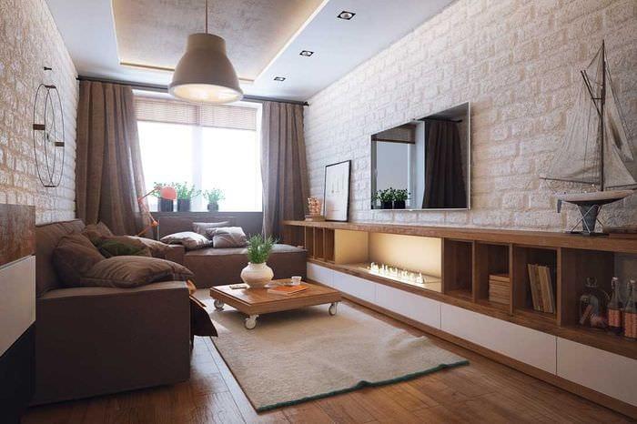 вариант красивого стиля гостиной 16 кв.м