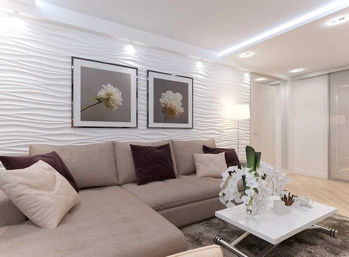 вариант светлого интерьера гостиной 19-20 кв.м