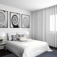 вариант яркого стиля спальни в белом цвете фото