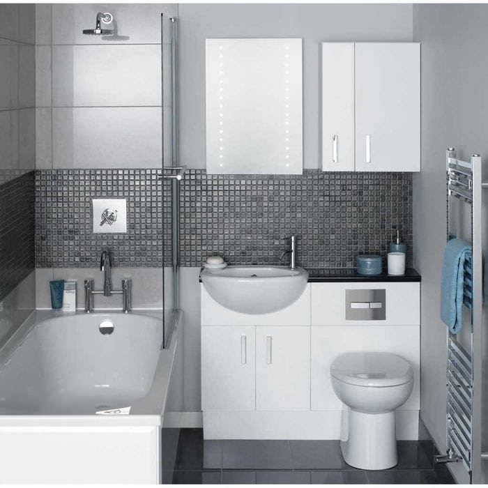 вариант современного дизайна ванной комнаты 2017