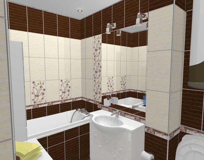 пример необычного стиля ванной комнаты 5 кв.м