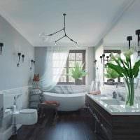вариант яркого интерьера ванной с окном картинка