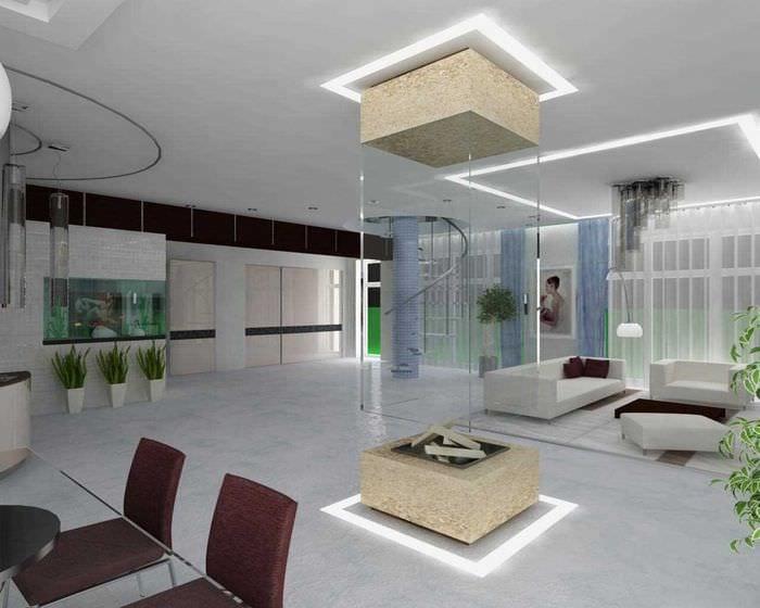 вариант яркого дизайна гостиной в стиле минимализм