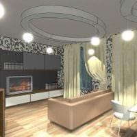 вариант красивого дизайна гостиной комнаты с эркером картинка