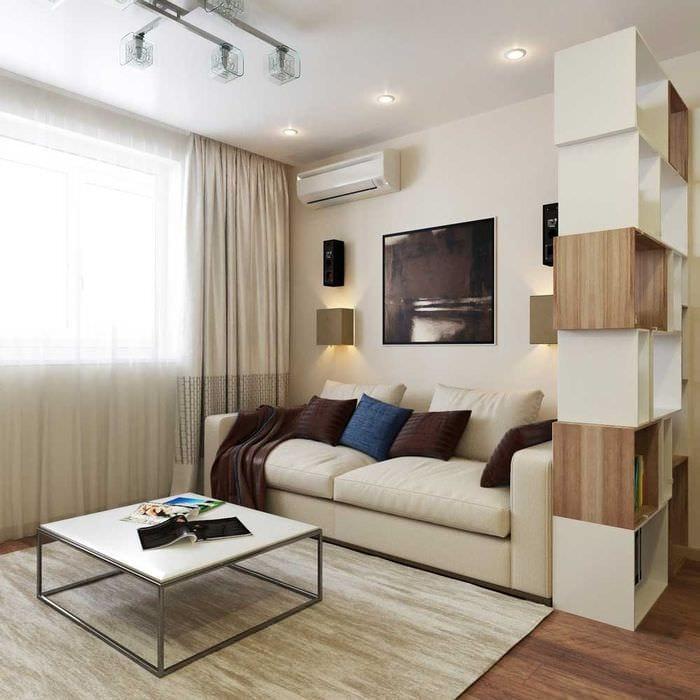 вариант светлого интерьера гостиной 16 кв.м