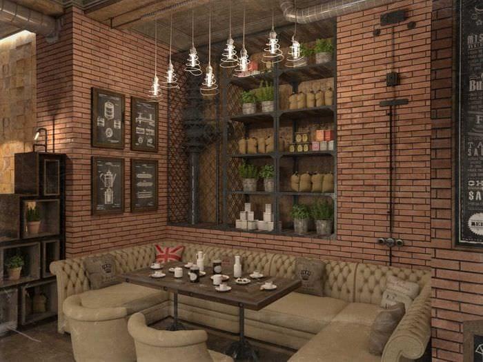 идея красивого стиля ресторана в стиле лофт