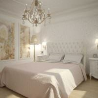 вариант красивого стиля белой спальни фото