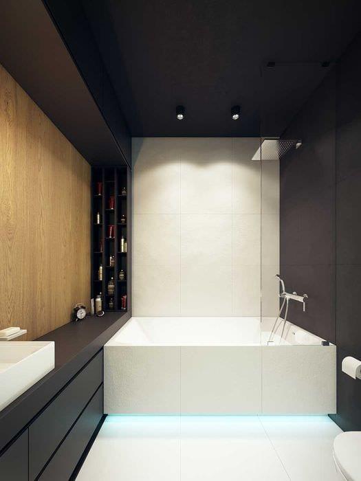 идея необычного интерьера ванной комнаты 6 кв.м