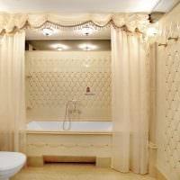 вариант необычного интерьера ванной в бежевом цвете фото