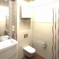 пример светлого интерьера ванной комнаты в бежевом цвете картинка