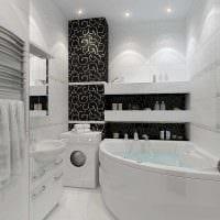 вариант современного дизайна ванной комнаты в черно-белых тонах картинка