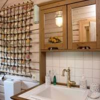 вариант необычного дизайна ванной комнаты в деревянном доме фото