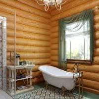 идея современного стиля ванной в деревянном доме картинка