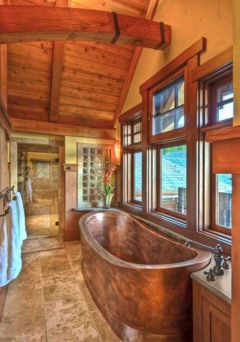 вариант современного дизайна ванной комнаты в деревянном доме