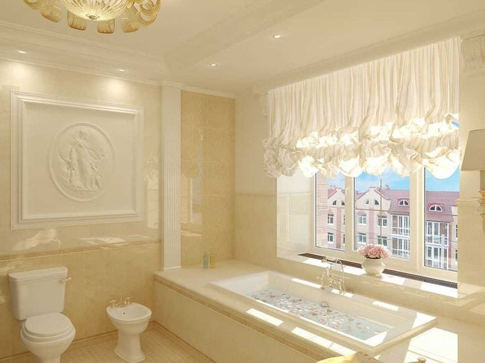 идея красивого дизайна ванной с окном