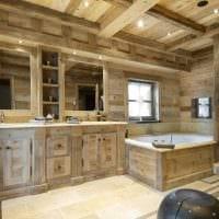 вариант современного стиля ванной в деревянном доме фото