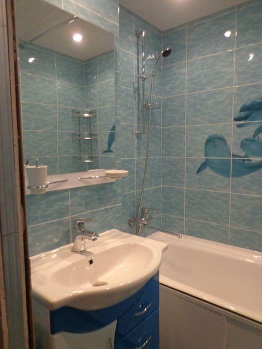 вариант необычного дизайна ванной в хрущевке