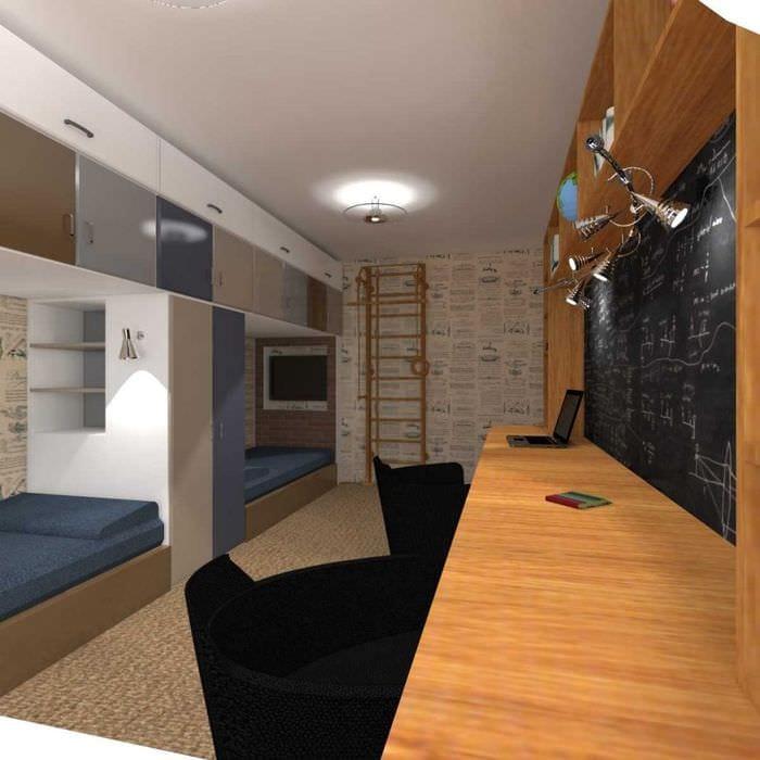 Комната для двух мальчиков подростков дизайн интерьер