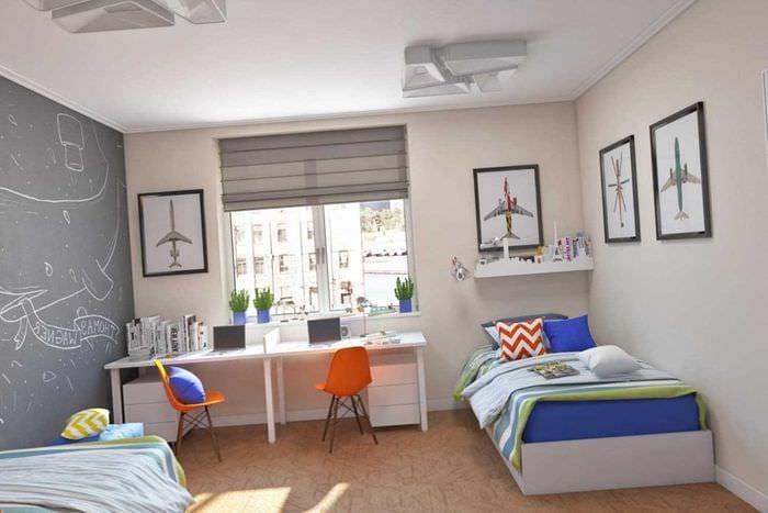 вариант красивого дизайна детской комнаты для двух мальчиков