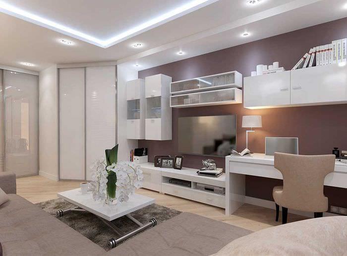 вариант необычного дизайна гостиной комнаты 19-20 кв.м