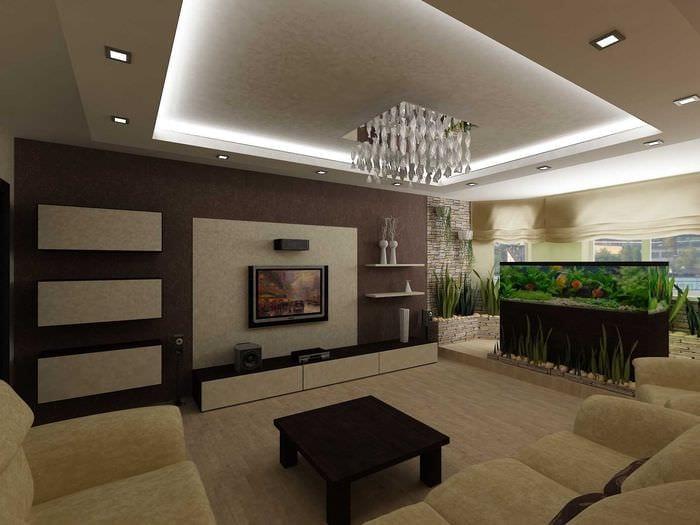 вариант необычного дизайна гостиной комнаты 25 кв.м