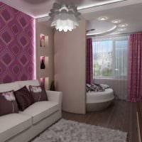 пример яркого декора гостиной комнаты с эркером фото