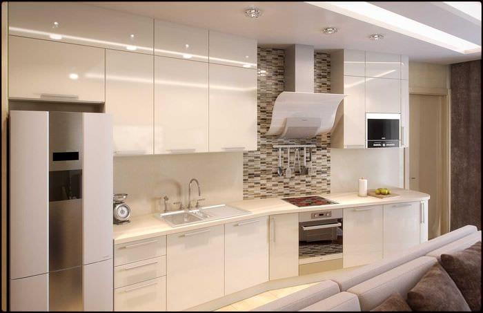 вариант необычного интерьера квартиры в светлых тонах в современном стиле