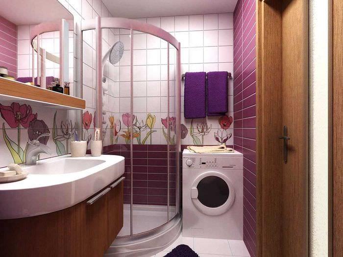 вариант необычного стиля ванной 2017
