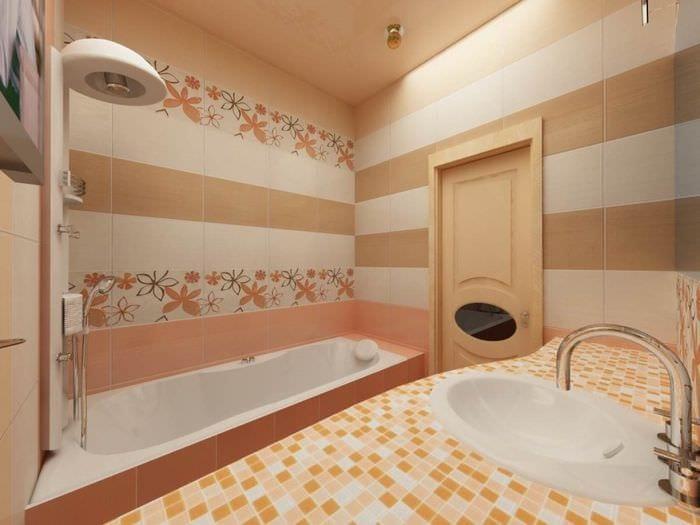 Дизайн напольной плитки в ванной комнате маленького размера
