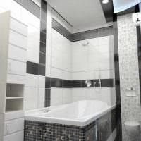 вариант красивого стиля ванной в черно-белых тонах картинка