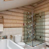 идея современного стиля ванной комнаты в деревянном доме фото