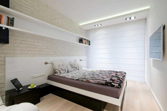 вариант красивого стиля спальни в белом цвете