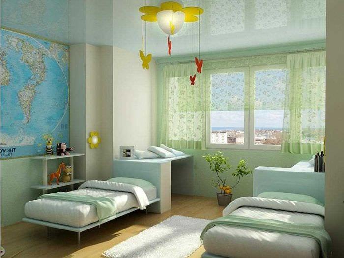 идея светлого интерьера детской комнаты для двух мальчиков