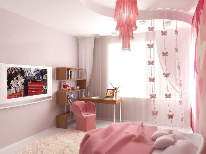 идея светлого дизайна детской для девочки