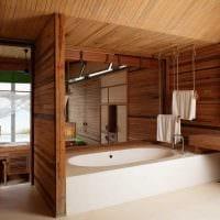 идея необычного стиля ванной комнаты в деревянном доме картинка