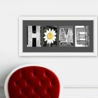 идея применения декоративных букв в дизайне помещения картинка