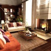 вариант сочетания яркого коричневого цвета в интерьере гостиной фото