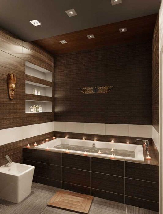 вариант сочетания насыщенного коричневого цвета в интерьере гостиной