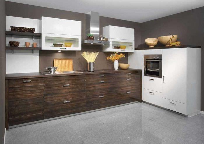 вариант сочетания светлого коричневого цвета в стиле кухни